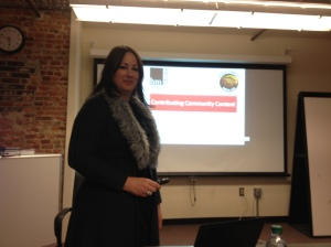 Michelle Rogers, managing editor of Heritage Media West, leads a workshop at the Community Media Lab.
