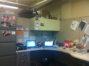 My cubicle at the Southeast Michigan Media Lab.