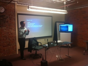 Videographer Aftab Borka teaches a workshop at the media lab.