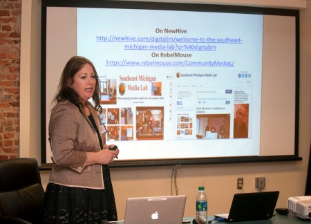 Michelle Rogers, director of the Southeast Michigan Media Lab (the writer of this blog), teaches a workshop on emerging social media tools.